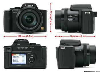 Panasonic Lumix DMC-FZ20 nhìn từ 4 hướng.