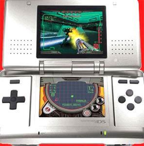 Máy chơi game cầm tay có hai màn hình cảm ứng của Nintendo.