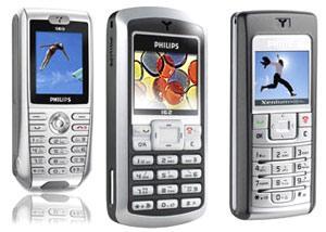 Phillips 162 (ở giữa), so sánh với điện thoại cùng hãng.