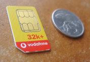Thẻ UICC 25 x 15 mm của Vodafone New Zealand.