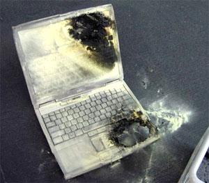 Laptop Dell bị cháy. Ảnh: IXBT.