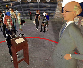 Quang cảnh phỏng vấn tìm việc trong Second Life.