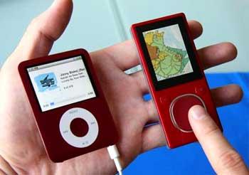 Zune flash (bên phải) và iPod Nano. Ảnh: Gizmodo.