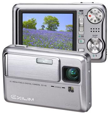 Casio Exilim EX-V8 có ống kính 7x được thiết kế ẩn. Ảnh: Camera4less.