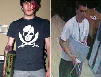 Jesse McPherson (trái) và kẻ tình nghi trong camera an ninh