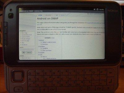N810 lướt web trên giao diện hệ điều hành Android. Ảnh: Talkandroid.