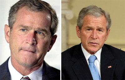Tổng thống Mỹ George Bush năm 2000 (trái) và năm 2008 (phải).