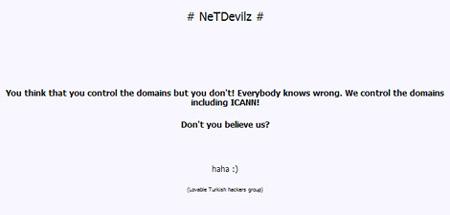 Thông điệp của NetDevilz. Ảnh: Zone-H.