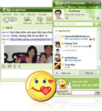 Đổi status dễ dàng, xem ảnh, video ngay trên cửa sổ chat với Yahoo Messenger 9.0. Ảnh: Yahoo.