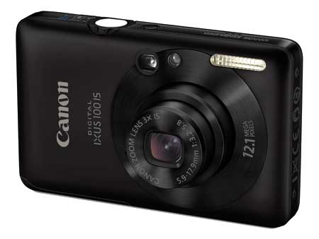 Canon IXUS 100 IS thiết kế mỏng. Ảnh: Parkcamera.