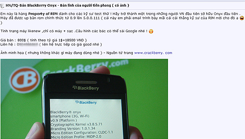 BlackBerry Onyx được rao bán trên mạng. Ảnh chụp màn hình.