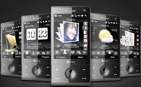 TouchFLO với một dãy các icon bên dưới. Ảnh: HTC.