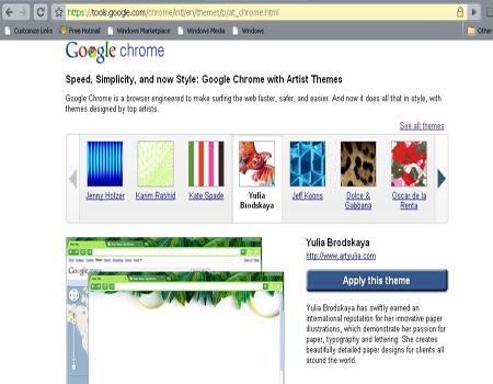Người dùng trình duyệt Google Chrome có thể vào địa chỉ https://tools.google.com/chrome/intl/en/themes/p/at_chrome.html để tải themes. Ảnh chụp màn hình.