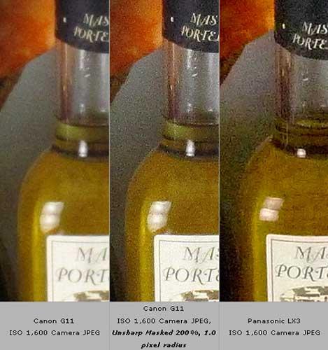 Tại ISO 1600, ảnh của G11 (ngoài cùng bên trái) ít nhiễu hơn hẳn Lumix LX-3 (ngoài cùng bên phải). Tuy nhiên, ảnh cho bởi G11 khá mờ và bị mất nhiều chi tiết. Xử lý ảnh chụp bởi G11 bằng phần mềm Photoshop với chức năng Unsharp Marker 200%, Radius 1 pixel, bạn sẽ có một bức ảnh ít nhiễu và giàu chi tiết hơn so với Lumix LX3. Ảnh: Imaging Resource.