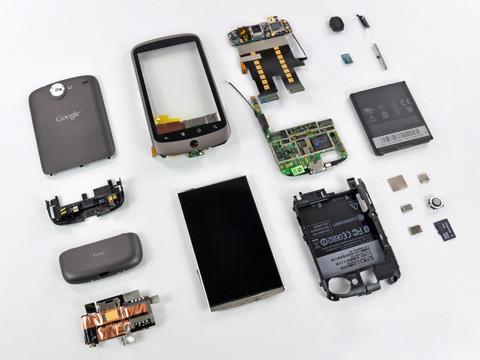 Các chi tiết phần cứng của Nexus One. Ảnh: iFixit.
