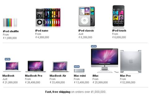 Các mặt hàng trên Apple Store dành cho Việt Nam.