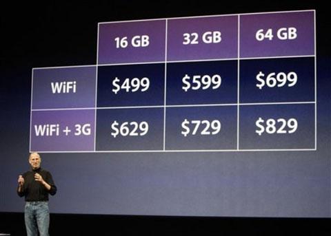 Các mức giá của iPad. Ảnh: AP.