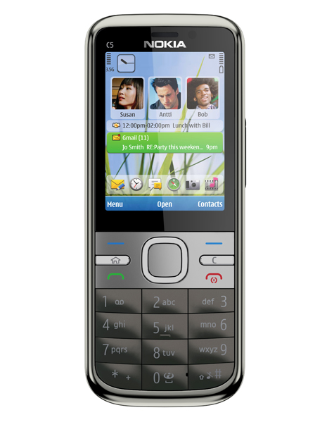 Nokia C5 với thiết kế dạng thanh.