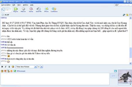 Một kiểu tin nhắn rác quyên tiền phổ biến trên Yahoo Messenger.