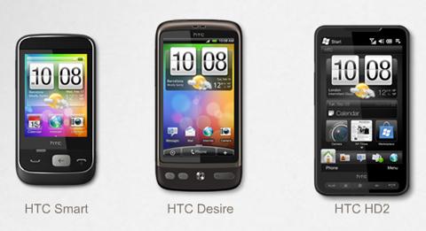 Di động của HTC sử dụng 3 hệ điều hành khác nhau.