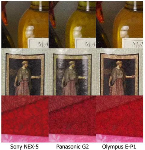 Sony NEX-5 đọ sức khử nhiễu cùng Panasonic G2 và Olympus E-P1. Ảnh: Imaging Resource.