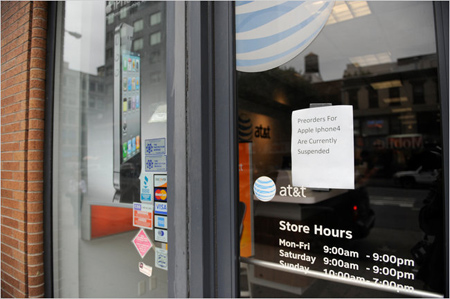Biển báo ngừng nhận đặt hàng của một cửa hàng thuộc AT&T