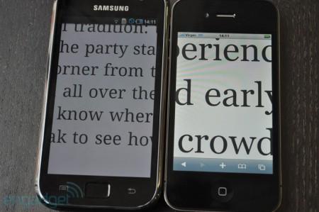 Samsung Galaxy S (bên trái) và iPhone 4.