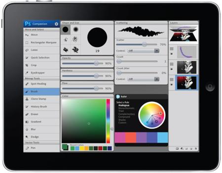 Ứng dụng Photoshop sẽ sớm có mặt trên thiết bị di động. Ảnh: Adobe Systems.