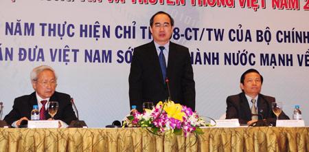 Phó thủ tướng Chính phủ Nguyễn Thiện Nhân phát biểu tại hội nghị. Ảnh: P.T.