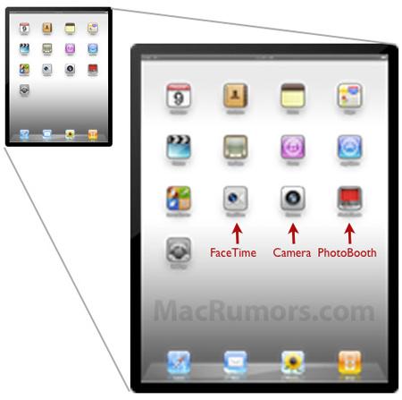 iPad có thêm ứng dụng FaceTime, Camera và PhotoBooth, cho thấy sản phẩm sẽ tích hợp camera.