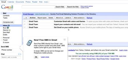 Gmail gửi thư chào mừng tới một số thành viên cũ.