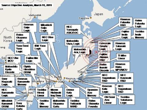 Bản đồ những nhà máy sản xuất linh kiện điện tử nằm trong vùng bị động đất. Nguồn: