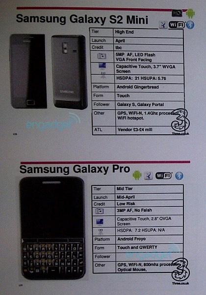 Galaxy S II Mini và Galaxy Pro sắp được Three UK bán ra. Ảnh: Engadget.