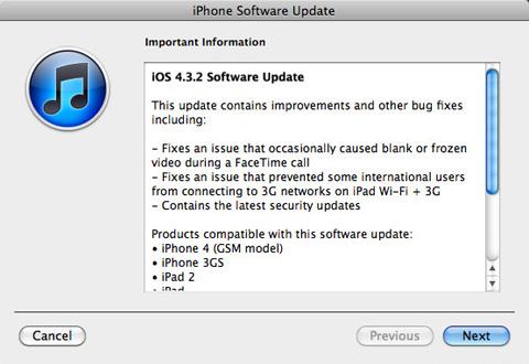 iOS 4.3.2 không có nhiều chỉnh sửa.
