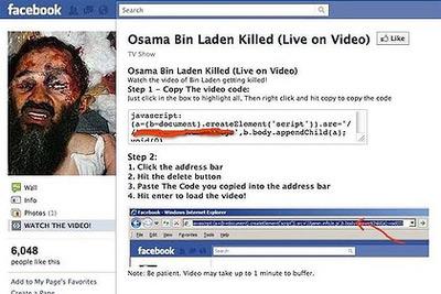 Trang Facebook quảng cáo video về vụ tiêu diệt bin Laden.
