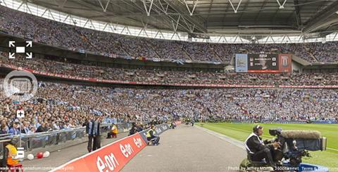 Bức ảnh chụp phía trong sân vận động ở trận chung kết cup FA thứ 7 tuần trước. Ảnh chụp màn hình.