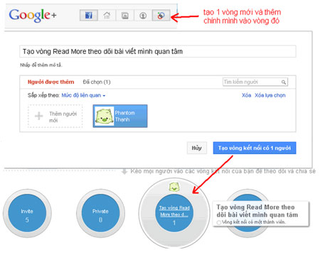 Tạo Circle riêng để lưu trữ các bài hay trên Google+.