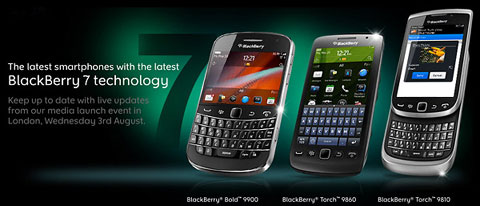 Những thiết bị mới của RIM sử dụng phiên bản BlackBerry OS 7.