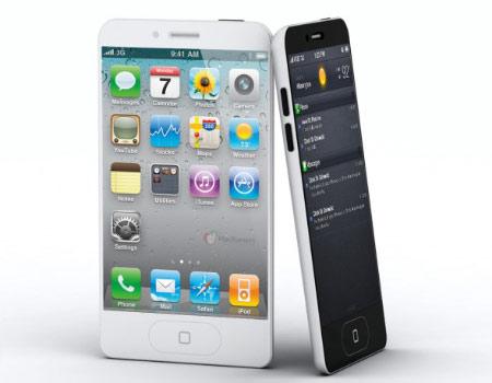 Hình điện thoại iPhone 5 phác họa từ phụ kiện ở Trung Quốc.