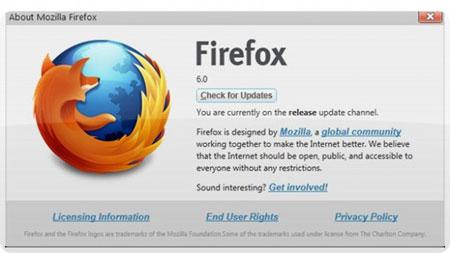 Firefox 6.0 bắt đầu được tải.