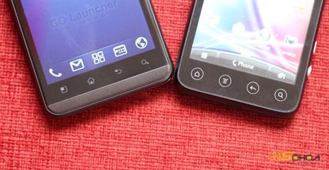 4 phím điều khiển cảm ứng phía dưới màn hình, vị trí Setting và nút Home trên hai model này được biến đổi cho nhau.