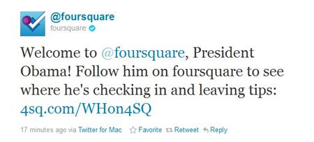 Foursquare loan tin về sự gia nhập của Barack Obama.