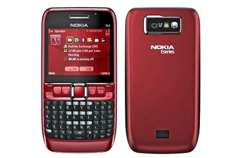 Nokia E63 với thiết kế bàn phím cứng.