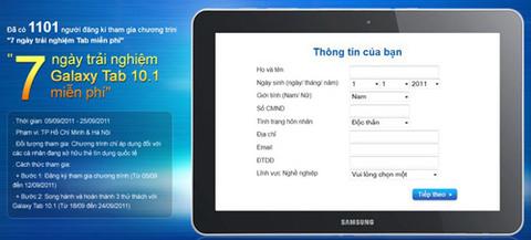 Ảnh được chụp tại trang web của Samsung lúc 14 giờ ngày 7/9/2011