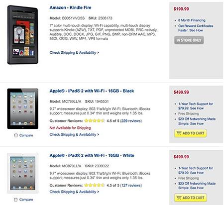 Kindle Fire là sản phẩm 'hot' nhất nhưng Apple phân phối nhiều phiên bản iPad.