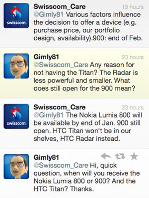 Đoạn đối thoại chứa thông tin về thời gian ra mắt Nokia Lumia 900.