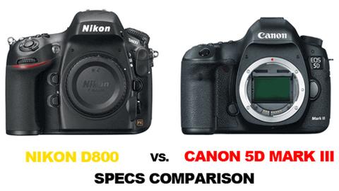 Nikon D800 và Canon 5D Mark III là đối thủ trực tiếp của nhau.