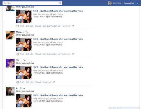 Các link spam có thể tự động hiển thị trên Wall của thành viên Facebook. Ảnh minh họa.