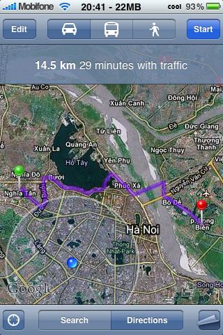 Dịch vụ bản đồ Google Maps từng hỗ trợ tính năng dẫn đường Direction.