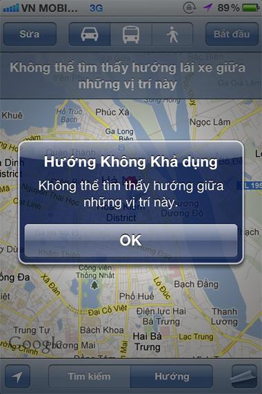 Tính năng dẫn đường không còn dùng được trên hệ điều hành iOS của Apple.